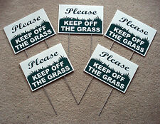 """5 PLEASE KEEP OFF THE GRASS 8""""X12"""" Plastic Coroplast Signs with Stakes  NEW"""
