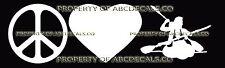 PEACE LOVE KAYAKING TANDEM DUAL Vinyl Wall Sticker Car Bumper Window Decal