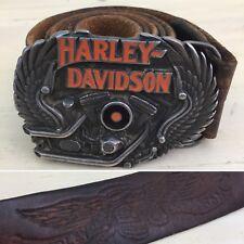 HARLEY DAVIDSON - Vtg Brown Leather Skull Belt & Motorcycle Engine Buckle, 32-36