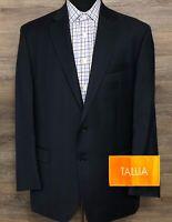TALLIA Men's 100% Wool Navy Blue Plaid Two-Button Blazer Sport Coat Jacket 44R