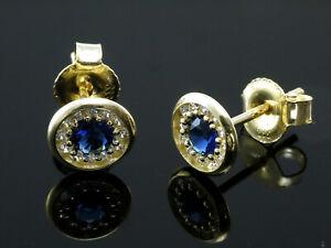 333 Gold flache Ohrstecker mit Saphiren 6,5 mm mit 1 Paar mit Zirkonia Steinen