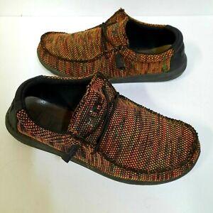 Hey Dude Mens Wally Sox Loafer Size 10 Orange Black Slip On 110356007 COMFORT