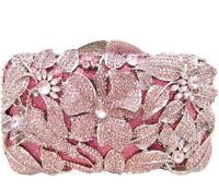 Anthony David Pink & Silver Floral Crystal Evening Bag with Swarovski Crystals
