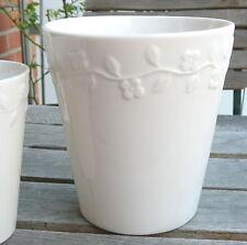 Sia Home Fashion - Blumentopf Übertopf in weiß mit Blumengirlande ♦ 15cm hoch