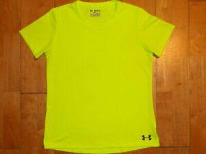 UNDER ARMOUR Women HEAT GEAR Neon Yellow SEMI-FITTED Medium M Short Sleeve Shirt