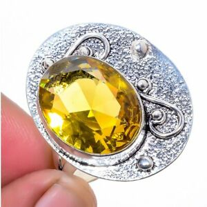 Aaa+++ Citrine Gemstone 925 Sterling Silver Jewelry Ring s.9 F258
