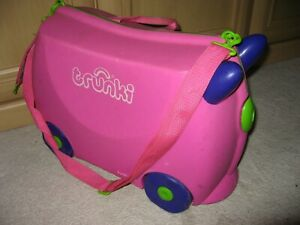 Child's 'Trixi' TRUNKI Pink Ride-on Kids Suitcase with strap