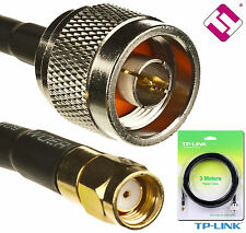 CABLE N MALE TO RP SMA MALE CONECTOR TP LINK ANT24PT3 PIGTAIL 3METROS TPLINK 2,4