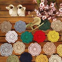 4Pcs/Set Vintage Hand Crocheted Lace Cotton Doilies Round Coasters Cup Mats 10cm