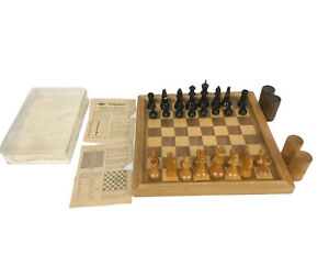 "VTG E.S. Lowe Tournament Solid Wood Chess & Checker Set (2 7/8"") King - Manual"
