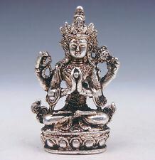 Tibetan Silver Copper Crafted Sculpture Miniature 4 Arms Kwan-Yin Buddha Praying