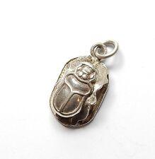 Vintage 925 Sterling Silver Egyptian Scarab Beetle Pendant 3.2g