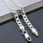 Wholesale 6MM 925 Sterling Silver Plated Chain Men Figaro Necklace Fashion Gift