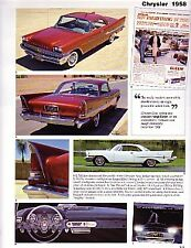 1958 Chrysler + New Yorker + 300D + Saratoga + Windsor Article - Must See !!