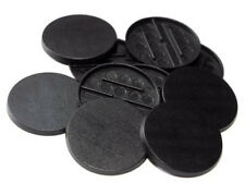 30 (Thirty) 40mm Round Bases for Wargaming Roleplaying Black Plastic NEW