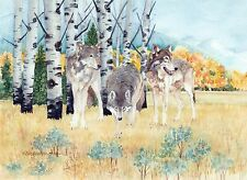 Lamar Valley Wolves Yellowstone National Park Watercolor Reproduction