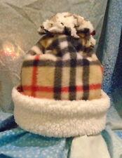 White Fluffy Plaid Burberry Fleece Winter Hat*Cap*Beanie*Double Layer*M/L