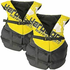 2 Pack Hardcore Adult Life Jacket PFD Type III Coast Guard Ski Vest Yellow HC110
