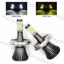 2x Dual Color H4 9003 LED Bulbs Car Fog Lights Driving White Yellow 180W DRL Kit