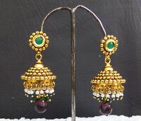 Beautiful Polki bridal Party Earrings Jhumki Ethnic Indian Fashion Jewelry Set