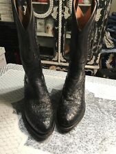 Lucchese 2000 Black Full Quill Ostrich Cowboy Boots Size 9 1/2 D NR