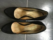 NINE WEST Heel Pumps Black Suede Round Toe Size US 6M / UK 4