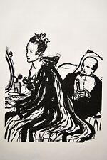 BOIS gravé 1 MALCOURONNE dessin courtisane DUFOUR illust. Anatole France vélin