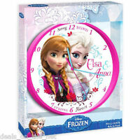 24CM DISNEY FROZEN ANNA ELSA CLOCK WALL BEDROOM KIDS GIRLS PRESENT HANGING