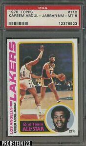 1978 Topps Basketball #110 Kareem Abdul-Jabbar Lakers HOF PSA 8 NM-MT