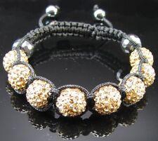 Shamballa Kristall Armband Bling Gold Zitrin Kugel Glücksbringer Champagne disco
