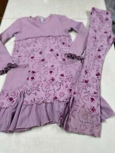 NAARTJIE KIDS OUTFIT  ADORABLE PURPLE  FUN PRINT KNIT DRESS &  KNIT PANTS  XL 7