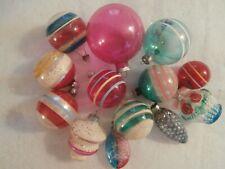 13 Antique Vintage Clear Unsilvered Blown Mercury Glass Christmas Ornaments
