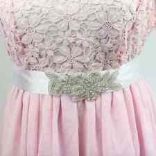 Accessoires mariage: Ceinture robe de mariée - satin blanc fleur perles strass