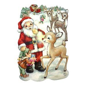 Vintage 70's Classroom Decorations Wall Decor Santa Reindeer Ruldolph Presents