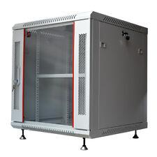 "15U 24"" Deep Gray Wall Moun Network It Server Cabinet Rack Glass Door Open Box"