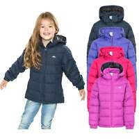 Trespass Marey Water Resistant Girls Padded Jacket with Hood Pink Navy & Purple