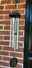 "New Carson Faith Family Friends Indoor / Outdoor Wind Chimes 30"" Silver & Black"
