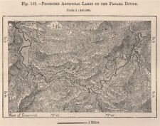 Projected artificial Lakes on the Panama divide 1885 old antique map chart
