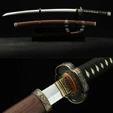Japanese Samurai Sword Tachi Folded Steel Blade Shirasaya Rosewood Saya Sharp
