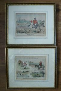 Pair Framed Punch or the London Charivari Hand Coloured Cartoons -Hunting Scenes