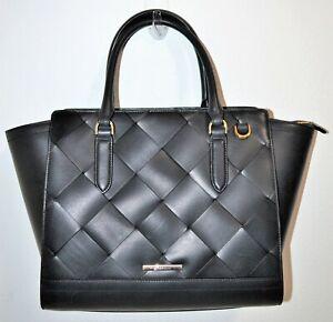 NWT Brahmin Black Vik Woven Smooth Leather Large Aubree Satchel Bag Purse $495