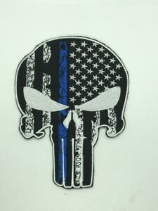 SPARTAN HELMET USA FLAG MORALE PATCH THIN BLUE LINE iron/sew on leo skull 4x5 in