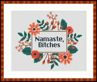 Namaste Cross Stitch Pattern PDF Simple Funny subversive Sassy embroidery chart