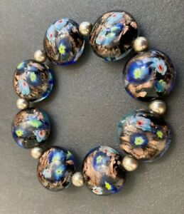 Stunning deep blue lampwork bead stretch bracelet SCBR004
