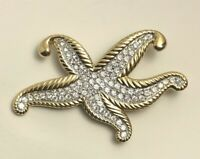 Vintage Starfish    brooch pin gold tone metal with crystals