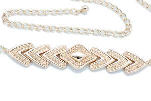 Women Comfortable Waisted Belt Gold Metal Chain Arrowhead Charm Buckle M L XL