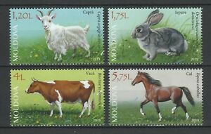 Moldova 2019 Domestic Animals, Cow, Horse, Goat, Rabbit 4 MNH stamps