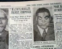 FATS WALLER Thomas Wright Jazz Pianist & Composer DEATH 1943 Old WWII Newspaper
