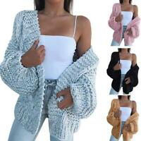 Fashion Women Long Sleeve Loose Sweater Knitted Cardigan Coat Outwear S-3XL