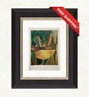 Bread+and+Fruit+Dish+on+a+Table%2C+1909+by+Pablo+Picasso+Original+Print+With+COA